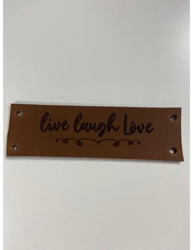 leren label Live Laugh Love 10x3 cognac