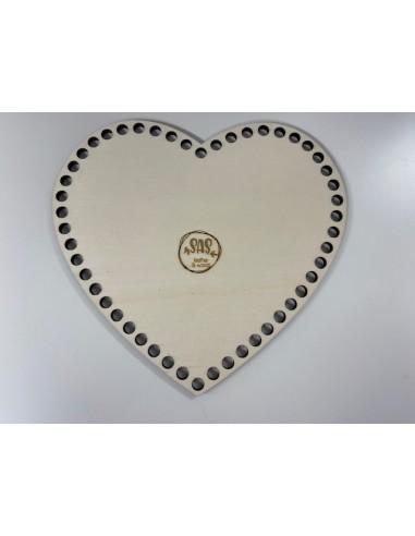 Houten bodem hart 24x23 cm